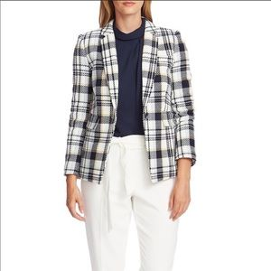 Vince Camuto Plaid One Button Blazer Pearl Ivory